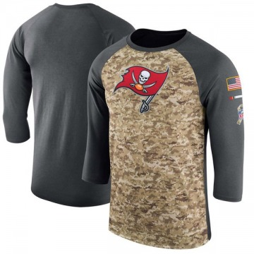 Men's Nike Tampa Bay Buccaneers Camo /Anthracite Salute to Service 2017 Sideline Performance Three-Quarter Sleeve T-Shirt - Lege