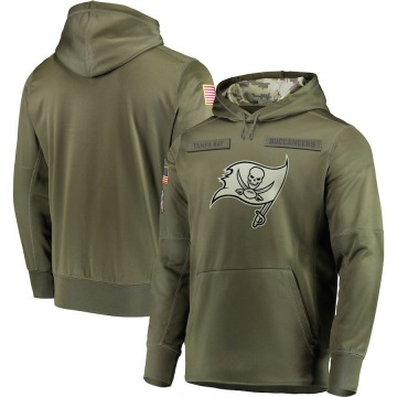 Men's Nike Tampa Bay Buccaneers Olive 2018 Salute to Service Sideline Therma Performance Pullover Hoodie -