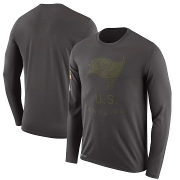 Men's Nike Tampa Bay Buccaneers Pewter 2018 Salute to Service Sideline Performance Long Sleeve T-Shirt - Legend