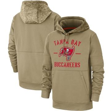 Men's Nike Tampa Bay Buccaneers Tan 2019 Salute to Service Sideline Therma Pullover Hoodie -