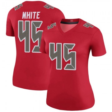 Women's Nike Tampa Bay Buccaneers Devin White White Color Rush Red Jersey - Legend