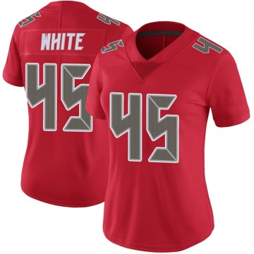 Women's Nike Tampa Bay Buccaneers Devin White White Color Rush Red Jersey - Limited