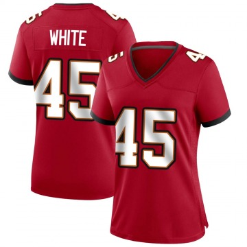 Women's Nike Tampa Bay Buccaneers Devin White White Red Team Color Jersey - Game