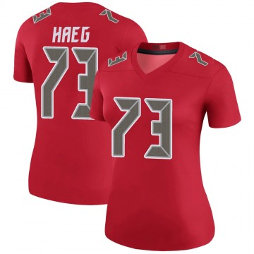 Women's Nike Tampa Bay Buccaneers Joe Haeg Red Color Rush Jersey - Legend