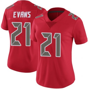 Women's Nike Tampa Bay Buccaneers Justin Evans Red Color Rush Jersey - Limited
