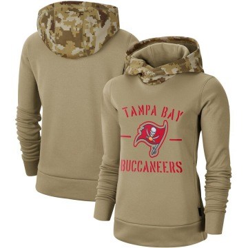 Women's Nike Tampa Bay Buccaneers Khaki 2019 Salute to Service Therma Pullover Hoodie -