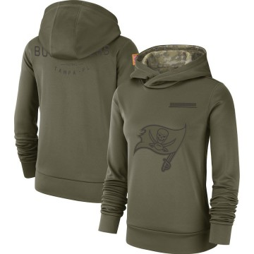 Women's Nike Tampa Bay Buccaneers Olive 2018 Salute to Service Team Logo Performance Pullover Hoodie -
