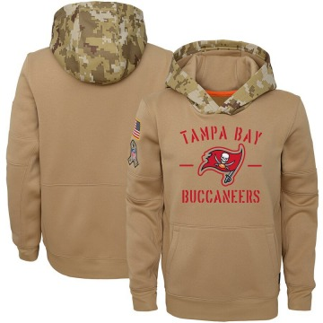 Youth Nike Tampa Bay Buccaneers Khaki 2019 Salute to Service Therma Pullover Hoodie -