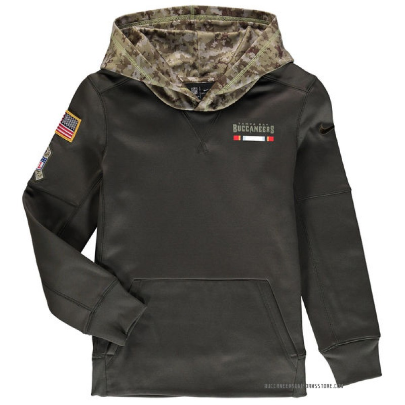 best service b2b37 01d83 Youth Nike Tampa Bay Buccaneers Olive Salute to Service Pullover Hoodie -